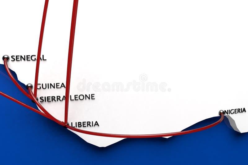 Ebola in de Uitbarstingslanden in Afrika royalty-vrije illustratie