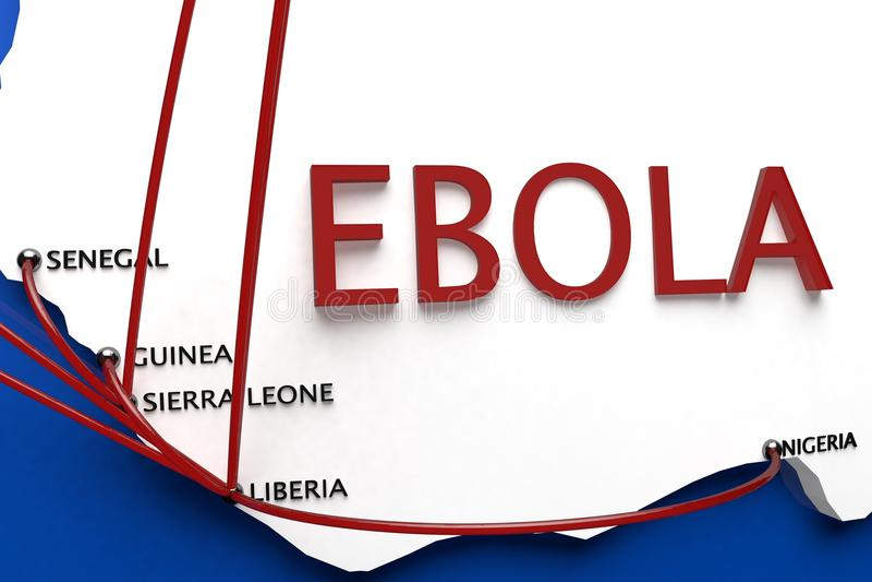 Ebola in de Uitbarstingslanden in Afrika vector illustratie