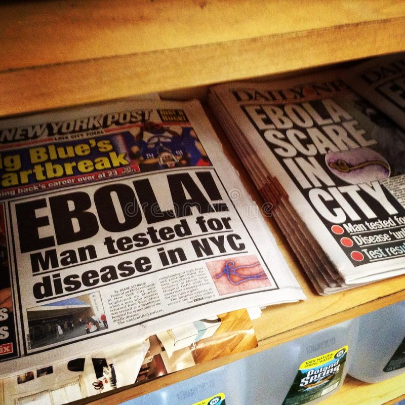 Ebola in NYC. Headlines of Ebola scare in New York City on August 4, 2014. Instagram shot