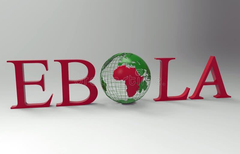 Ebola ord som innehåller världsjordklotet vektor illustrationer