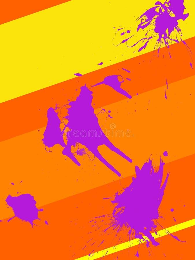 Ebook盖子70s样式橙色和黄色与紫色污点 免版税库存图片