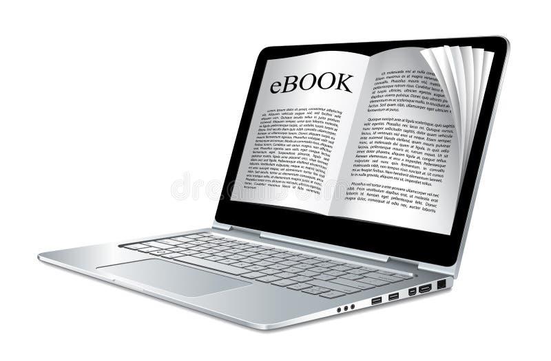 Ebook - компьтер-книжка как электронная книга иллюстрация вектора