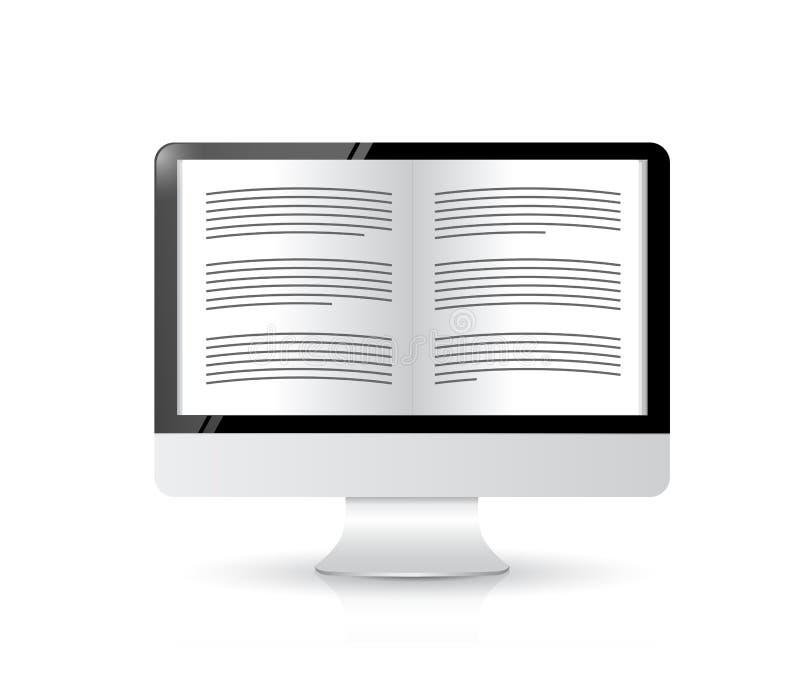 Ebook读者。计算机例证设计 库存例证