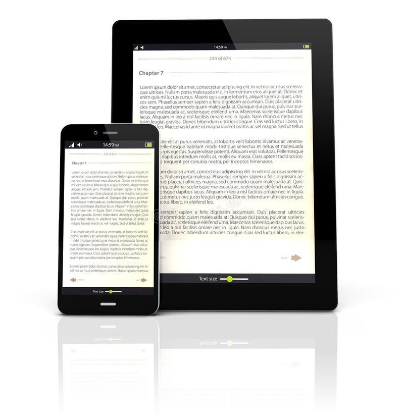 Ebook apparater royaltyfri illustrationer