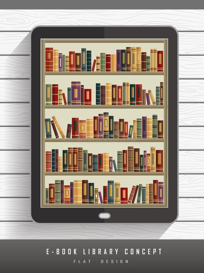EBook-Bibliothekskonzept im flachen Design vektor abbildung