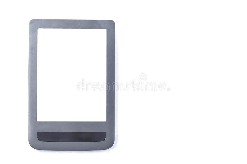 EBook com um lugar na tela sob o espa?o da c?pia em um fundo branco, isolado foto de stock