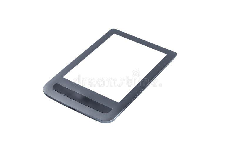 EBook con un lugar en la pantalla bajo espacio de la copia en un fondo blanco, aislante stock de ilustración