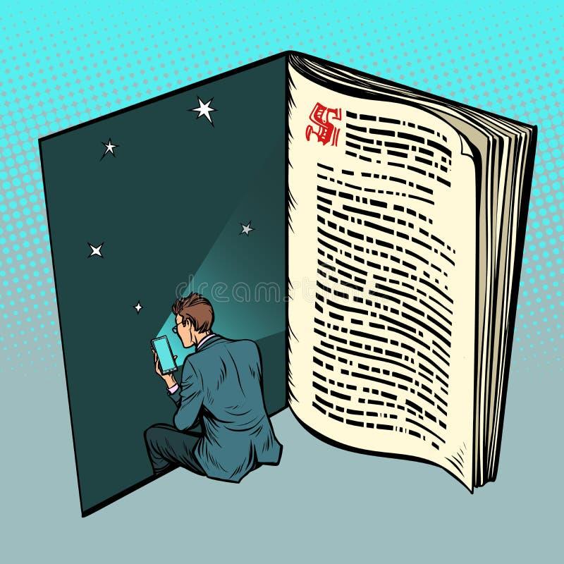 EBook, een mens leest online teksten stock illustratie