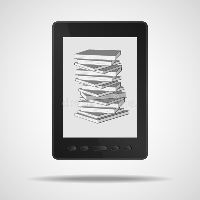 EBook en een stapel boeken daarin vector illustratie