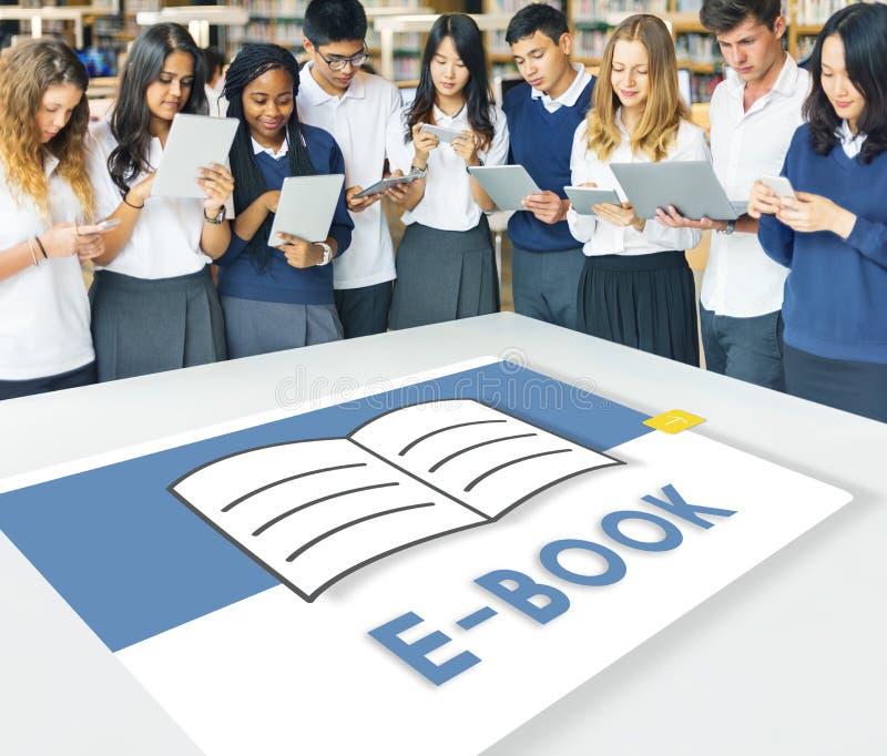 EBook för öppen sidabok online-lärande grafiskt begrepp royaltyfri bild