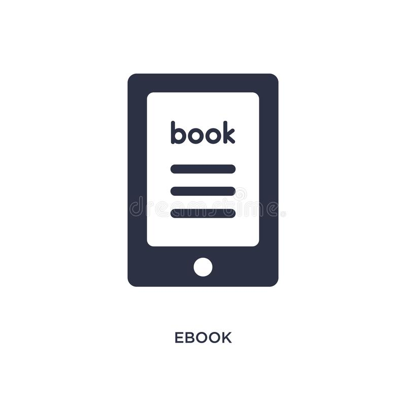 ebook icon on white background. Simple element illustration from literature concept vector illustration