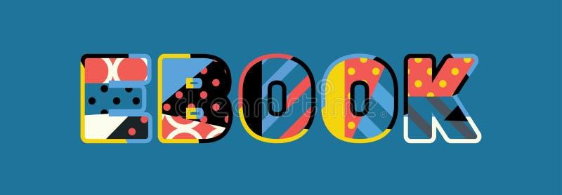 Ebook-Konzept-Wort Art Illustration stock abbildung
