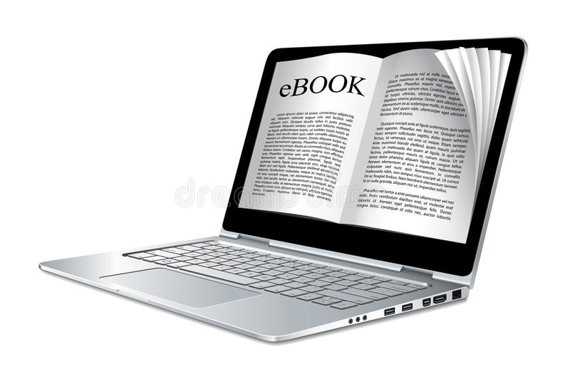 Ebook - laptop jak elektroniczną książkę ilustracja wektor