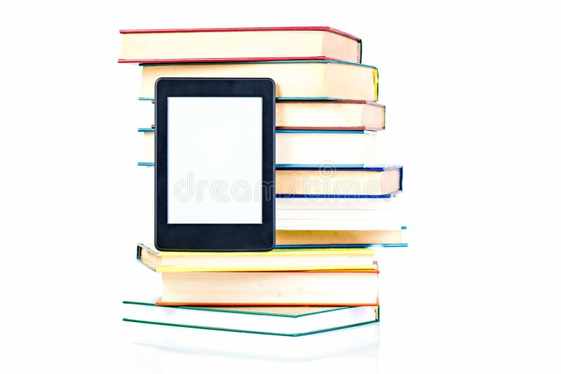 Ebook leaning paper books. New technology concept.  stock image