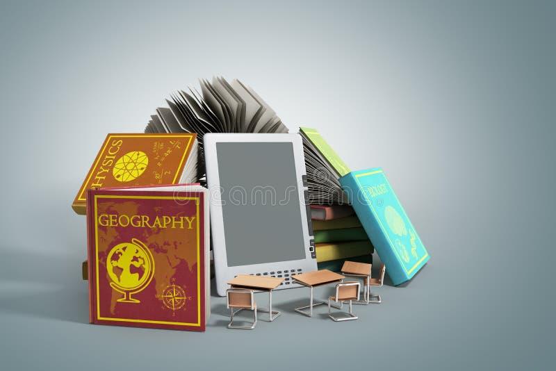 EBook-Leser Books und Tablette auf grauer Illustration der Steigung 3d stock abbildung