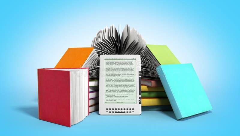 EBook-Leser Books und Tablette 3d übertragen Bild auf Steigung vektor abbildung