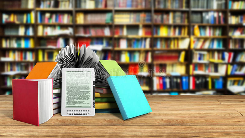 EBook-Leser Books und Tablettenbibliothekshintergrund 3d illustratio lizenzfreie abbildung