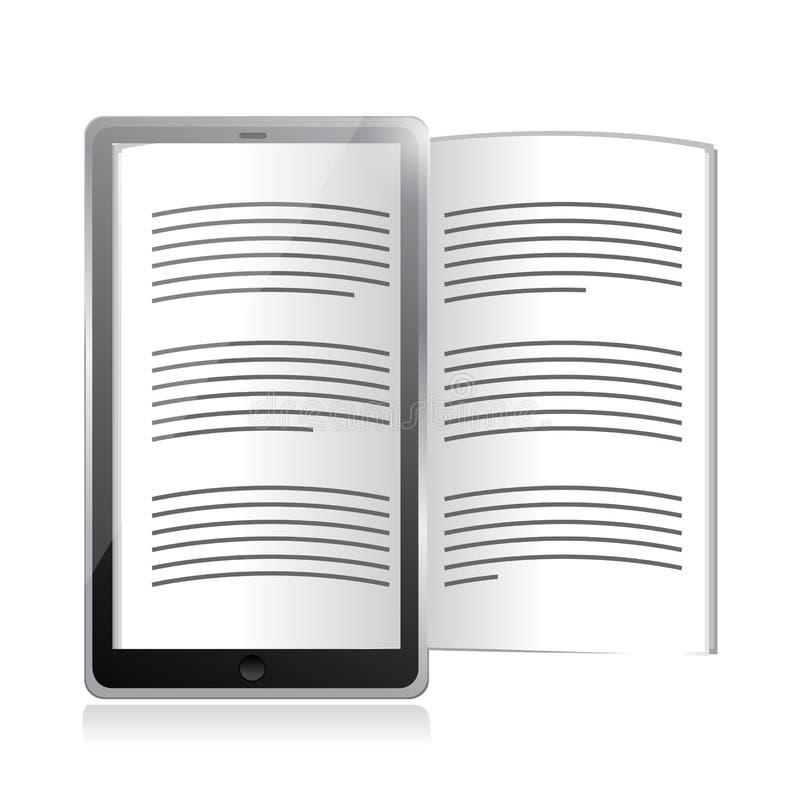 Ebook-Leser. Tablettenillustrationsentwurf lizenzfreie abbildung