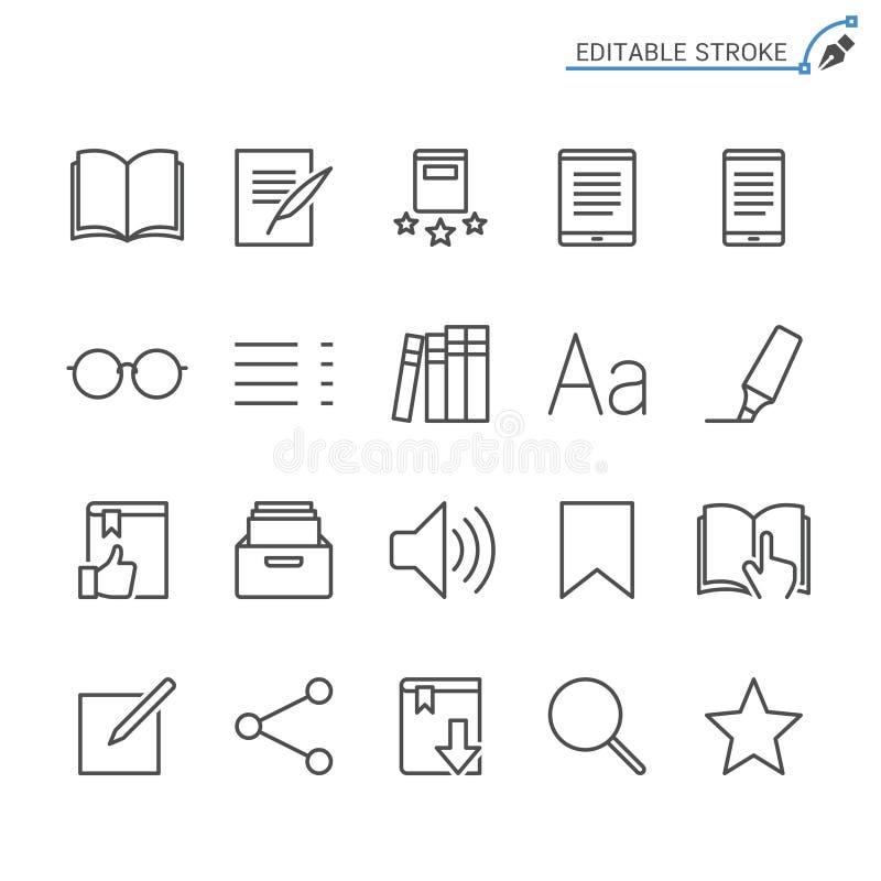 EBook-Leserentwurfs-Ikonensatz stock abbildung