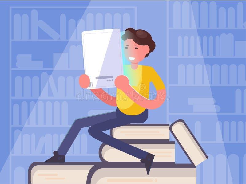 EBook, livre de lecture d'homme d'apprentissage en ligne dans le vecteur de biblioth?que cartoon Art d'isolement illustration de vecteur