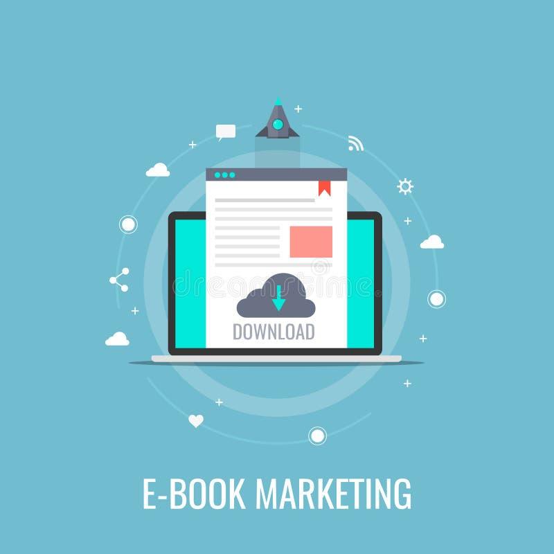 Ebook marketing, Witboekdownload, digitale inhoudspublicatie, concept Vlakke ontwerp vectorbanner royalty-vrije illustratie