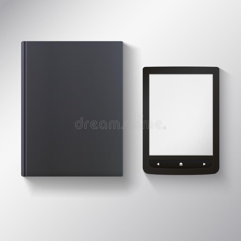 EBook met leeg zwart boek royalty-vrije illustratie