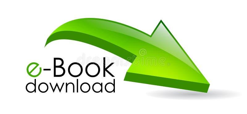 Ebook nedladdningpil stock illustrationer