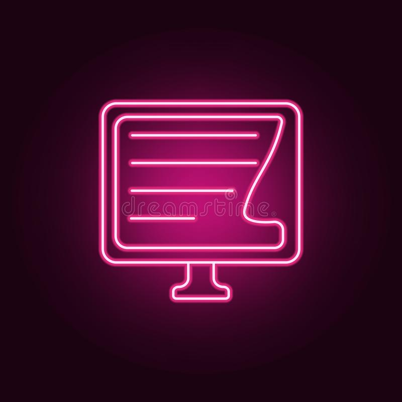 eBook no ícone do monitor Elementos dos livros e dos compartimentos nos ícones de néon do estilo Ícone simples para Web site, des ilustração royalty free