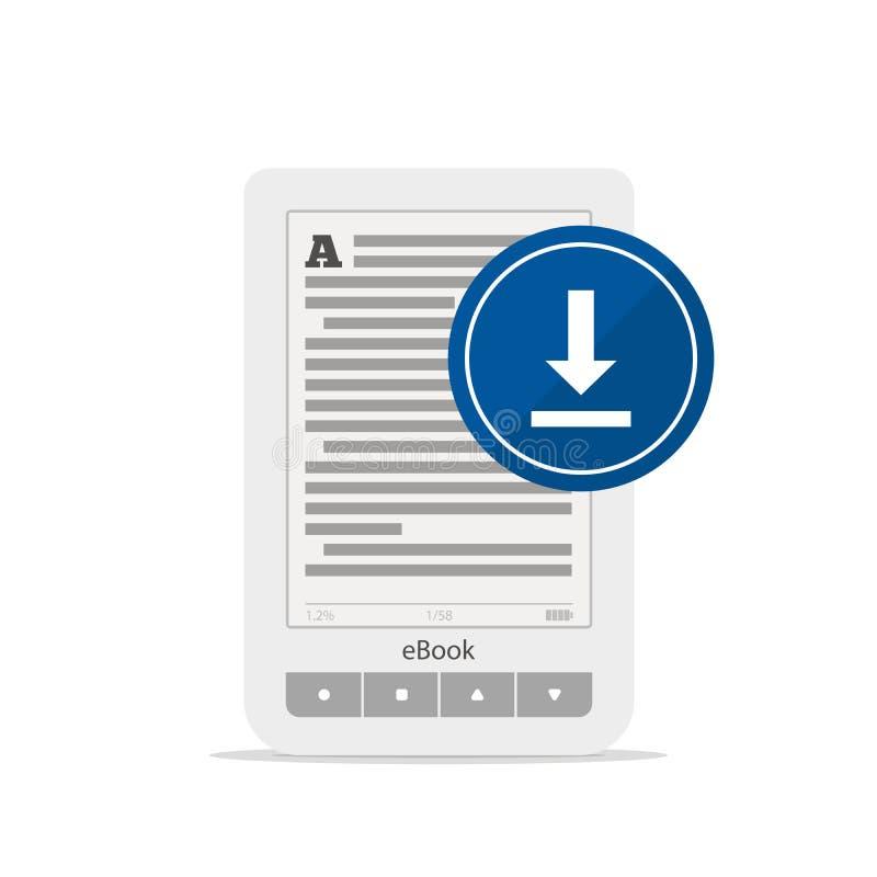 EBook oder Tablette und Antriebskraftknopf lokalisiert auf weißem Hintergrund Ein tragbares Gerät für das Ablesen Ikone, zum des  lizenzfreie abbildung