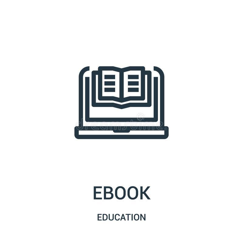 ebook pictogramvector van onderwijsinzameling De dunne lijn ebook schetst pictogram vectorillustratie Lineair symbool voor gebrui vector illustratie