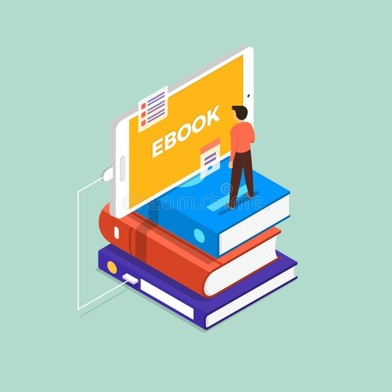 Ebook plat de concept de construction Le support d'homme sur le livre et le devi mobile illustration libre de droits