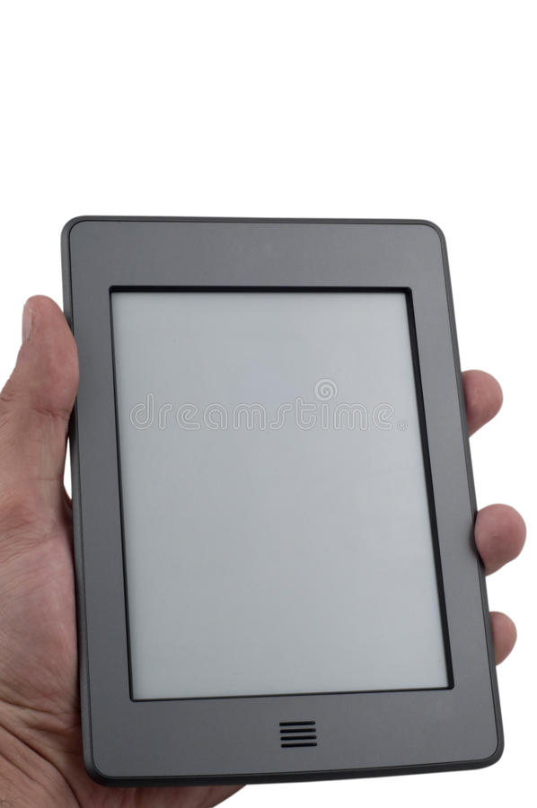 Ebook reader device. Holding hand on isolated white background royalty free stock image
