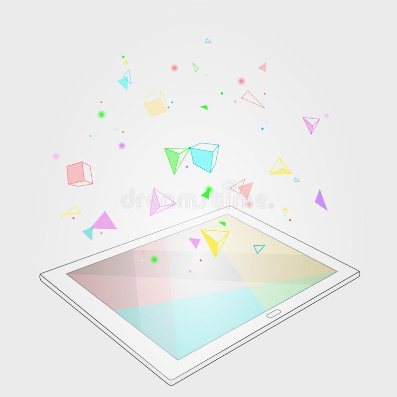 Ebook tablet PC virtual reality visual imagination mind effect. Low poly polygonal geometric shapes. Creative e-learning vector illustration