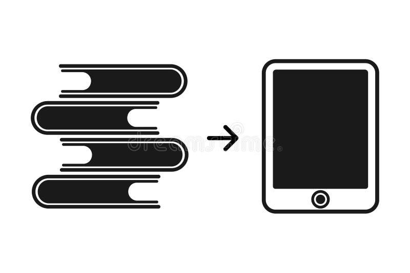 EBook und ein Stapel Papierbücher Neue moderne Technologie für das Erhalten von Informationen und von Ausbildung lizenzfreie abbildung