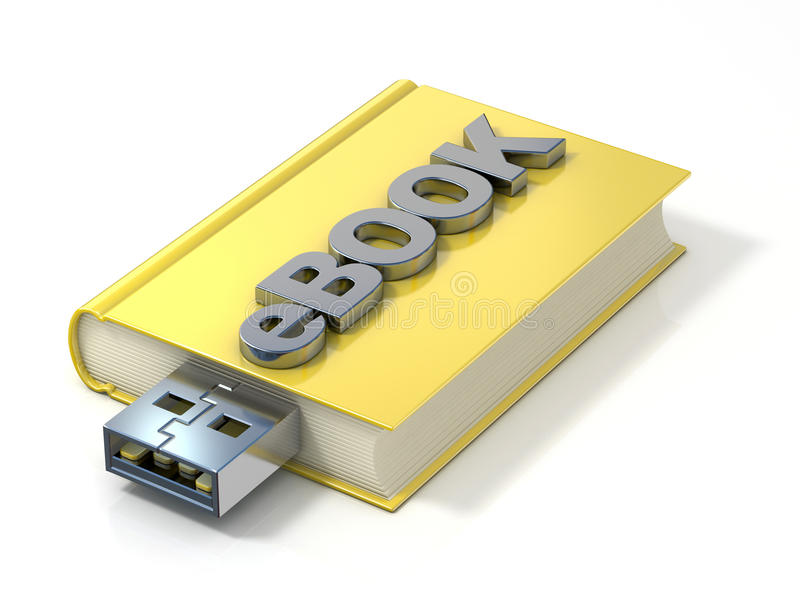 EBook with USB plug. 3D render. Illustration isolated on white background stock illustration