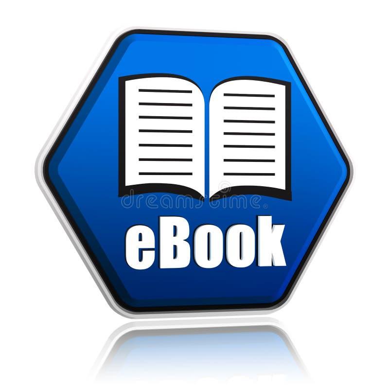Ebook y el libro firman adentro la bandera azul del hexágono libre illustration