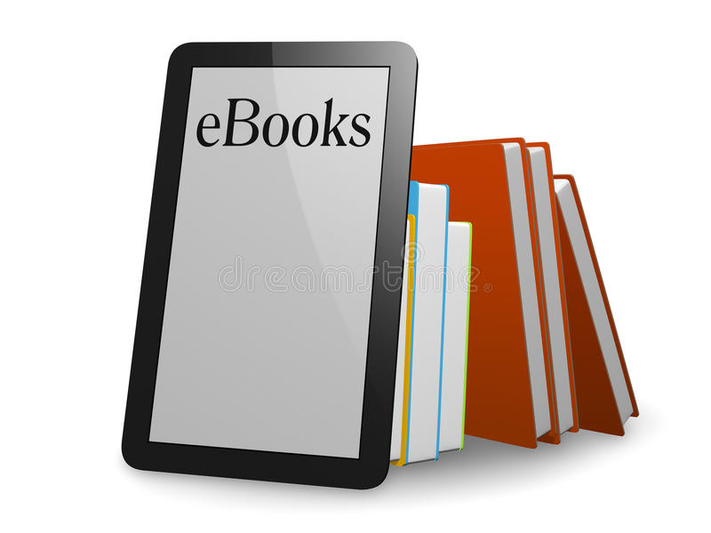 Ebooks. A nice ebook in front of normal books