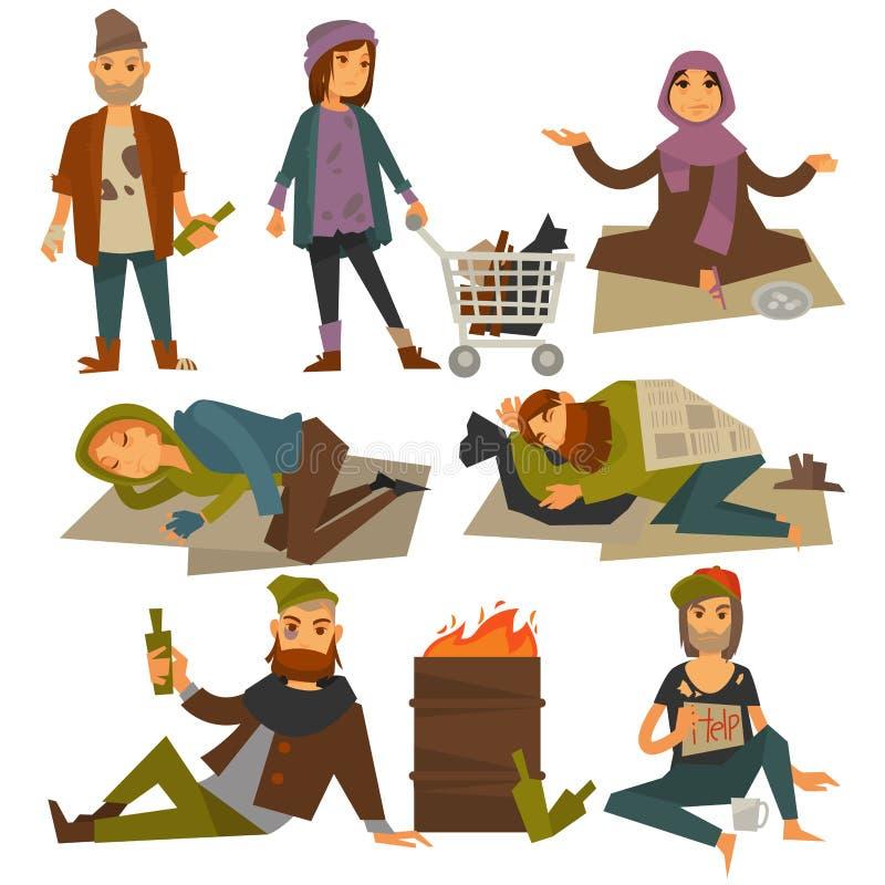 Żebracy, półdupek i błądzący ludzie bezdomni wektorowego mieszkania odizolowywali ikony royalty ilustracja