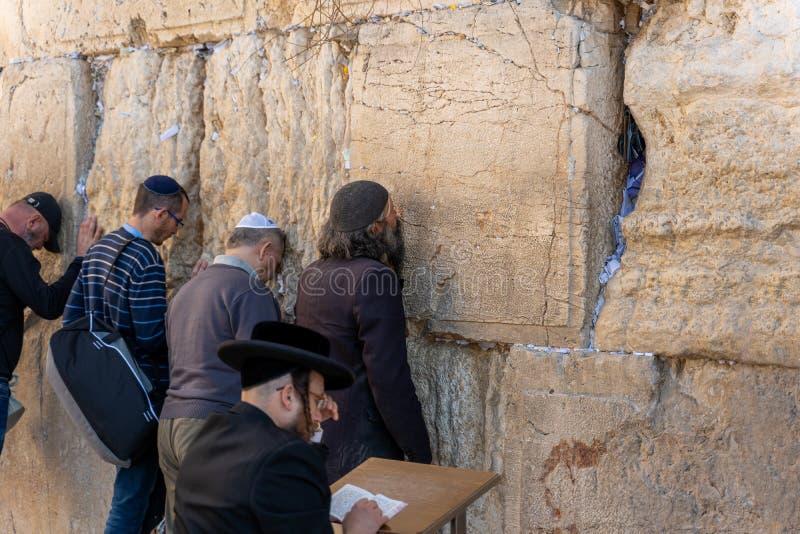 Ebrei ebrei pregano al Muro del Pianto di Gerusalemme fotografia stock libera da diritti
