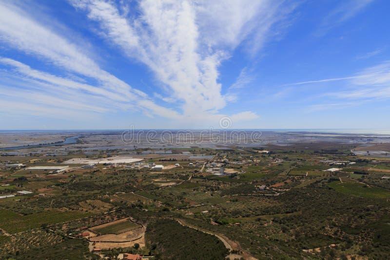 Ebro delta i rzeka fotografia stock
