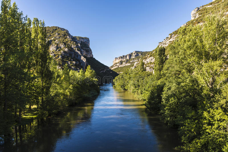 Ebro river through a valley in Spain royalty free stock images