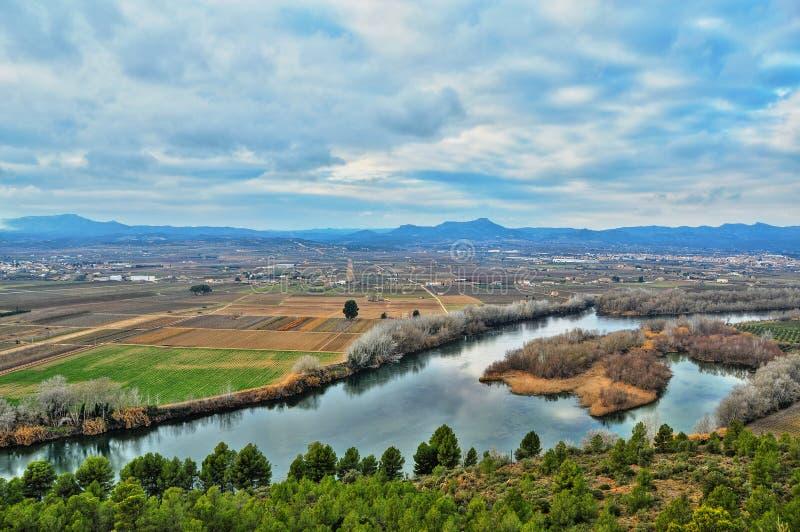 Ebro Rivier, Spanje stock afbeeldingen