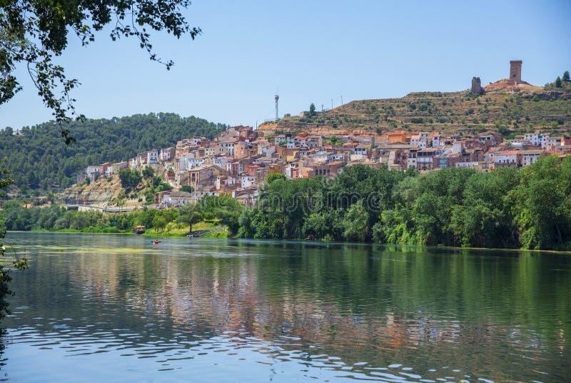 Ebro rivier in Zuid-Catalonië, Spanje royalty-vrije stock fotografie