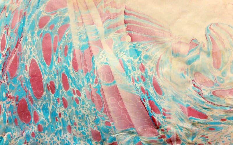 Ebru repéré de rouge bleu image libre de droits