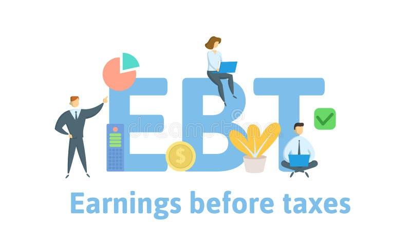 EBT, заработки перед налогами Концепция с людьми, письмами и значками r r иллюстрация штока