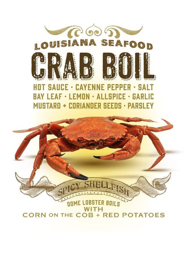 Ebullición del cangrejo de la colección de la cultura de New Orleans stock de ilustración