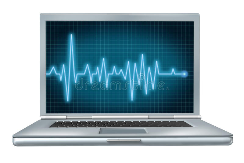 EC del hardware del software di riparazione del computer portatile di salute del calcolatore illustrazione vettoriale