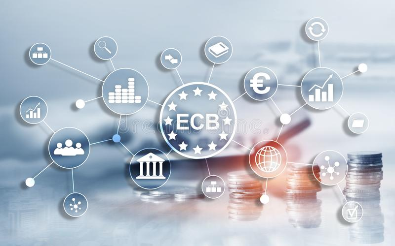 ECB European central bank Business finance concept. stock illustration