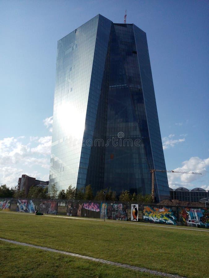 ECB (European Central Bank) tower. CIRCA AUGUST 2014 - FRANKFURT AM MAIN: the new headquarters of the ECB (European Central Bank), the EZB Turm (European Central royalty free stock photos