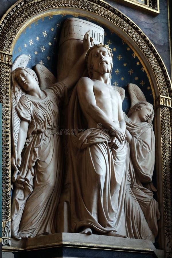 Ecce Homo door Antoine Etex in de Kapel van de Zielen van Vagevuur, de kerk van Heilige Eustache in Parijs stock foto